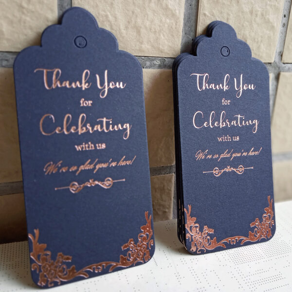 Dark Blue Thank You for Celebrating with Us Tag