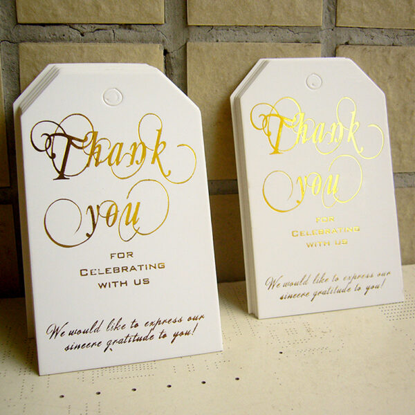 Gold Foil Thank You for Celebrating with Us Tag